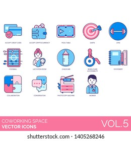 Coworking space icons including accept credit card, cryptocurrency, pool table, darts, gym, foosball, lactation room, childcare, wheelchair, stationery, conversation, photocopy machine, worker.