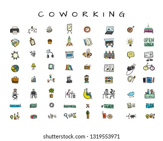 Coworking space, icons set for your design