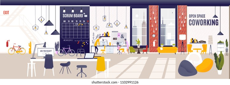 Coworking Space Interior Modern Coworking Office Creative Workplace Space Horizontal Banner Flat Vector Illustration, large calendar on the wall and scrum board, loft, windows  scenery on the city