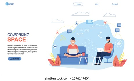 Coworking Space Landing Page Flat Cartoon Template. Freelancers Team Working Online on Laptop. Business People Sharing Open Workspace. Man Characters Sit on Armchair and Sofa. Vector Illustration