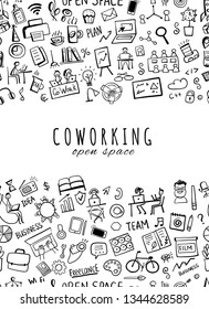 Coworking space, seamless pattern for your design