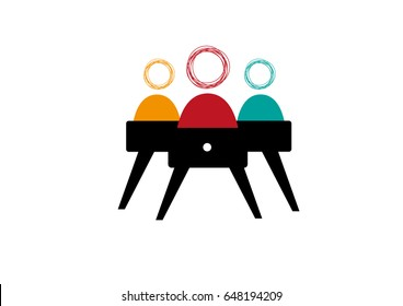 Coworking space or synergy concept or attendance of people working together. Editable Clip Art.