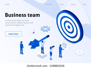 Coworking Team Metaphor Hitting Target Isometric Banner. Employee Occupied Goal Setting, Calculation, Task Execution. Concept Business Vector Illustration. Landing Page for Team Service