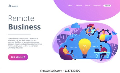 Coworking team of users connected by cloud computing and light bulb. Online collaboration, remote business management, wireless computing service concept, violet palette. Website landing web page