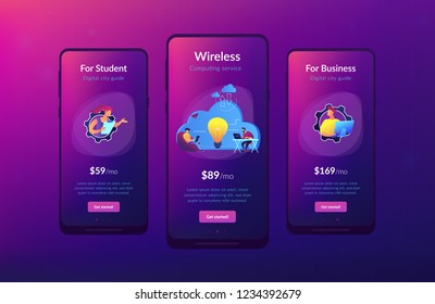 Coworking team of users connected by cloud computing and light bulb. Online collaboration, remote business management, wireless computing service concept, violet palette. UI UX GUI app interface