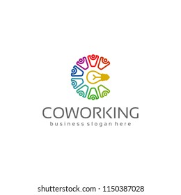 Coworking Teamwork C Idea Logo.Business Concept.