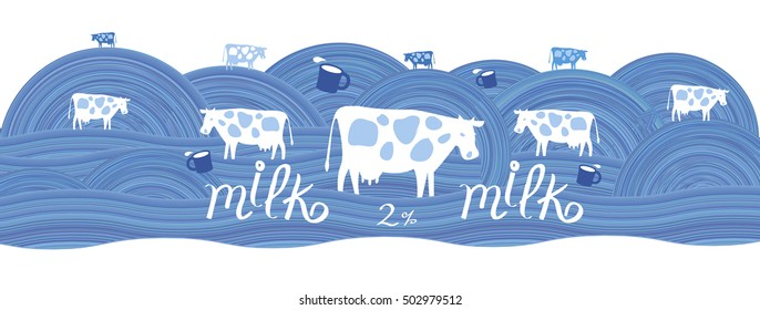 Cows and cup of milk on a blue field. Label for dairy products
