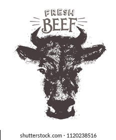 Cows head, in the form of a stain in a graphic style. Ilustration drawn by hand on paper and convert to vector.