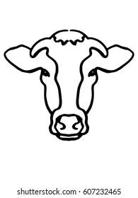 cow's head hand drawn