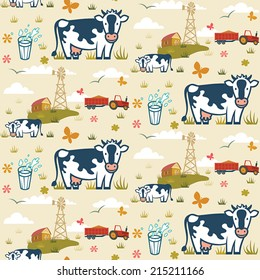 Cows on a farm background seamless pattern