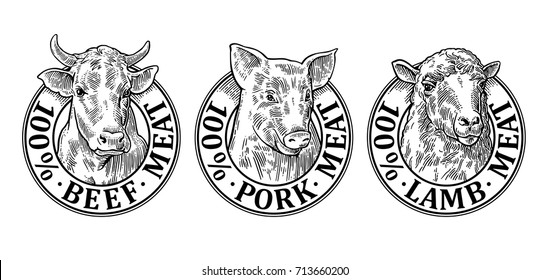 Cows, pig, sheep head. 100 percent beef pork lamb meat lettering. Hand drawn in a graphic style. Vintage black vector engraving illustration for label, poster, logotype. Isolated on white background