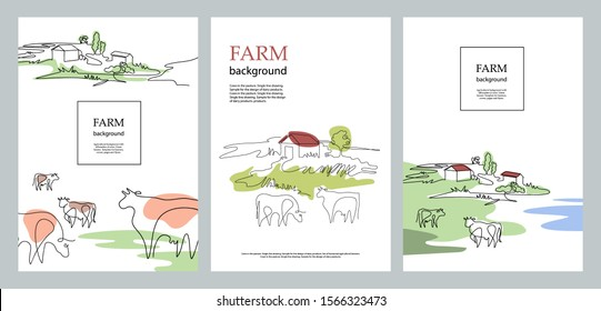 Cows and village houses. Agricultural brochure layout design. Cows in the pasture. One line drawing. A set of banners.