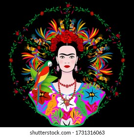 Coyoacan, Mexico City, Mexico : Frida Kahlo vector portrait, young beautiful Mexican woman with a traditional hairstyle,  Mexican crafts jewelry and dress, vector isolated or floral background