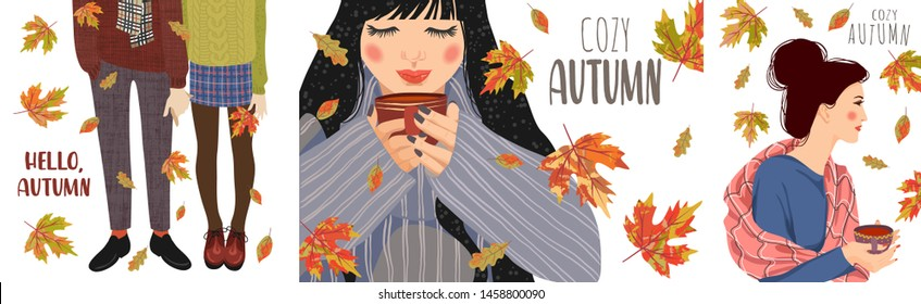 Cozy autumn. Set of cute cartoon flat vector illustration. Girl with a cup of tea, legs in warm boots and The woman at the window, behind which it rains and leaves fall