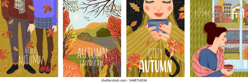 Cozy autumn. Set of cute flat vector illustration with landscape natural background, people by the window, with a cup of tea, in warm shoes and falling leaves