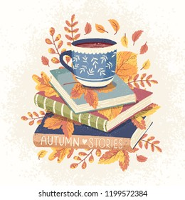 Cozy autumn vector illustration of cup of coffee or tea and some books with autumn leaves. Vector hand drawn illustration