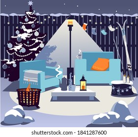 Cozy backyard in winter with a fire pit, patio heater, chairs, table with hot drink, Christmas tree and seasonal decorations, no people, EPS 8 vector illustration
