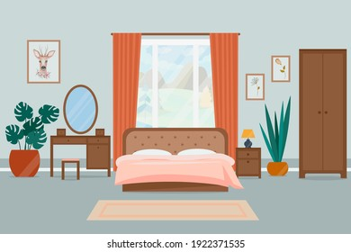 Cozy bedroom interior. Vector illustration in a flat style.