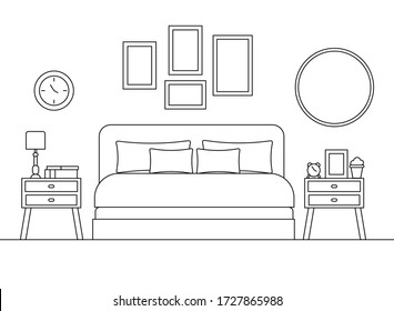 Cozy bedroom linear interior scene with furniture isolated on white background. Hotel room with black silhouete of bed nightstands mirror books lamp alarm clock in line art. Vector illustration.