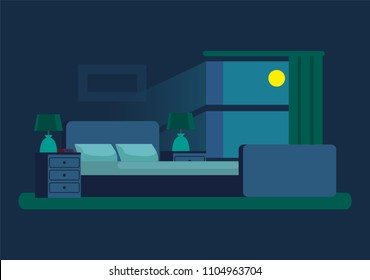 Cozy Bedroom At Night With Moonlight From Window Soft Bed Between Wooden Bedside Tables On