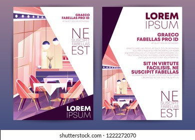 Cozy cafe, small restaurant or bar cartoon vector, vertical advertising flyer, promo leaflet design template. Restaurant hall pink interior with bar counter, comfortable chairs and tables illustration