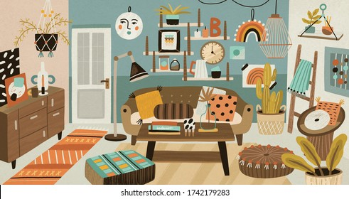 Cozy cartoon interior design vector illustration. Colorful domestic furnishing with houseplant, couch, coffee table and decor elements. Cosiness homey space with comfortable decoration