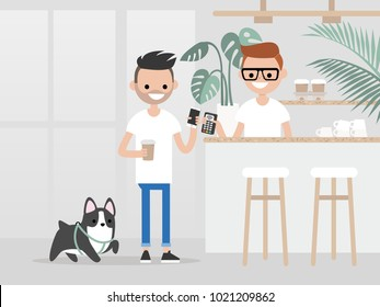 Cozy coffee shop. Modern lifestyle. Young customer buying a cup of coffee to go with a pay by phone technology. Hipster urban lifestyle / flat editable vector illustration, clip art.