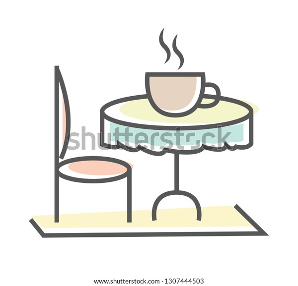 Cozy Dining Table with Steaming Cup of Coffee
