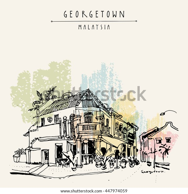 Cozy eclectic colonial building. Corner restaurant in old historical street in Georgetown, Penang, Malaysia, Southeast Asia. Hand drawing. Travel sketch. Book illustration, postcard or poster. Vector