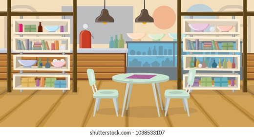 Cozy empty cafe flat vector illustration. Table, chair, shelf, public place, canteen, lunch. Interior concept. Can be used for posters, leaflets and brochure