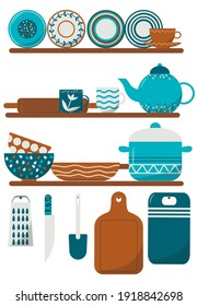 Cozy flat kitchen utensils illustrations. Kitchenware cooking objects, equipment for cooking, cups, dishes, bowls, knives, cutlery, pots. Stock vector illustration, eps 10