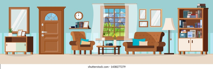 Cozy hall living room with furniture, closed door, window view of summer mountains landscape. Sofa, armchair, clock, mirror, coffee table, lamp, books, vase, cupboard. Flat design vector illustration.