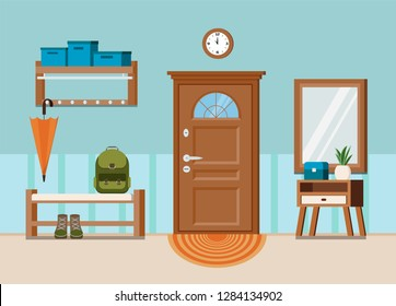 Cozy home entrance hall interior background with door, wall clock, plant, clothes hanger,  shoe bench, mirror, carpet, chest of drawers, backpack, umbrella in flat cartoon style. Vector illustration.