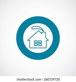 cozy home icon bold blue circle border, white background