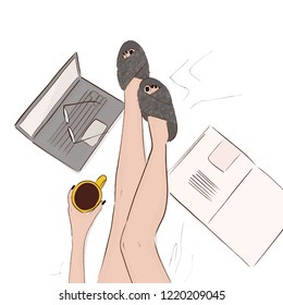 Cozy home illustration. Model legs in bed with coffee, computer, magazine and faux fur slippers. Woman hand drawn winter relax weekend. Bed laying illustration. Sketch