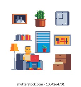 Cozy home interior, work at home, unemployed lazy man, working male character, hotel room pixel art set icons furniture for house isolated vector illustration, game assets 8-bit sprite.