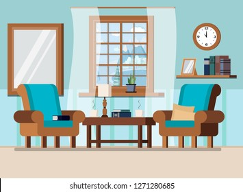 Cozy home living room interior background scene with coffee table, plant, lamp, two armchairs, pillows,wall clock, books, cups, window with winter landscape in cartoon flat style. Vector illustration.