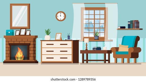 Cozy home living room interior background with fireplace, lamp, armchair, pillows,wall clock, books, cup, rack, coffe table, window with winter landscape in cartoon flat style. Vector illustration.