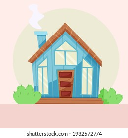 cozy home. Scandinavian style. House with panoramic windows. Vector illustration in flat style