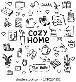 cozy home set. Pack of home quarantine self-isolation icons. Stay home set with a kettle, cup, washing machine, mug, socks, flowers, a lamp, a book, etc. Coronavirus prevention