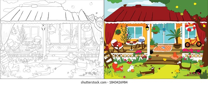 Cozy house series. Vector illustrations for coloring book.