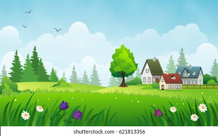 Cozy houses on a meadow. Summer rural landscape.
