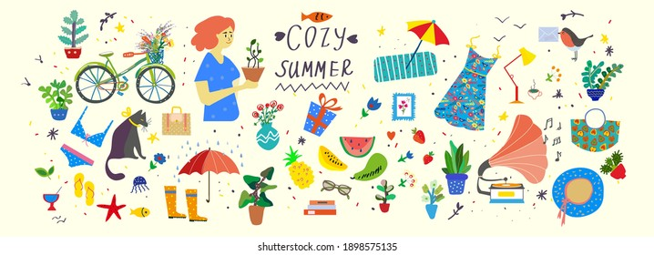 Cozy hygge summer illustration - vector set of cute objects, plants and accessories.
