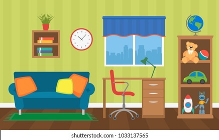 A cozy interior of a children's room with toys, furniture and a window. vector illustration isolated.