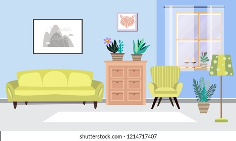 Cozy interior with  flowers. Living room with furniture. Home modern apartment design . Cactus, painting, armchair,   lamp, window and chest of drawers,. Cartoon flat style. Vector Illustration