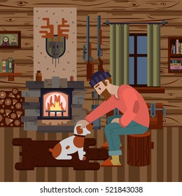 Cozy interior of hunter wood house with different items: logs, guns, fireplace. Hunter with dog. Modern flat style interior. Vector illustration art for poster and web design.