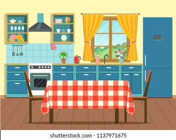 Cozy interior kitchen in rustic style with table and chairs and window. Vector flat style  illustration