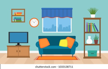 A cozy interior of the living room with TV, furniture and a window. vector illustration isolated.