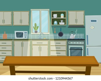 Cozy kitchen interior with furniture,  fridge and utencils. Table in front. Flat cartoon style vector illustration.