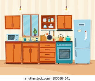 Cozy kitchen interior with furniture and stove, cupboard, dishes, fridge and utensils. Flat cartoon style vector illustration.